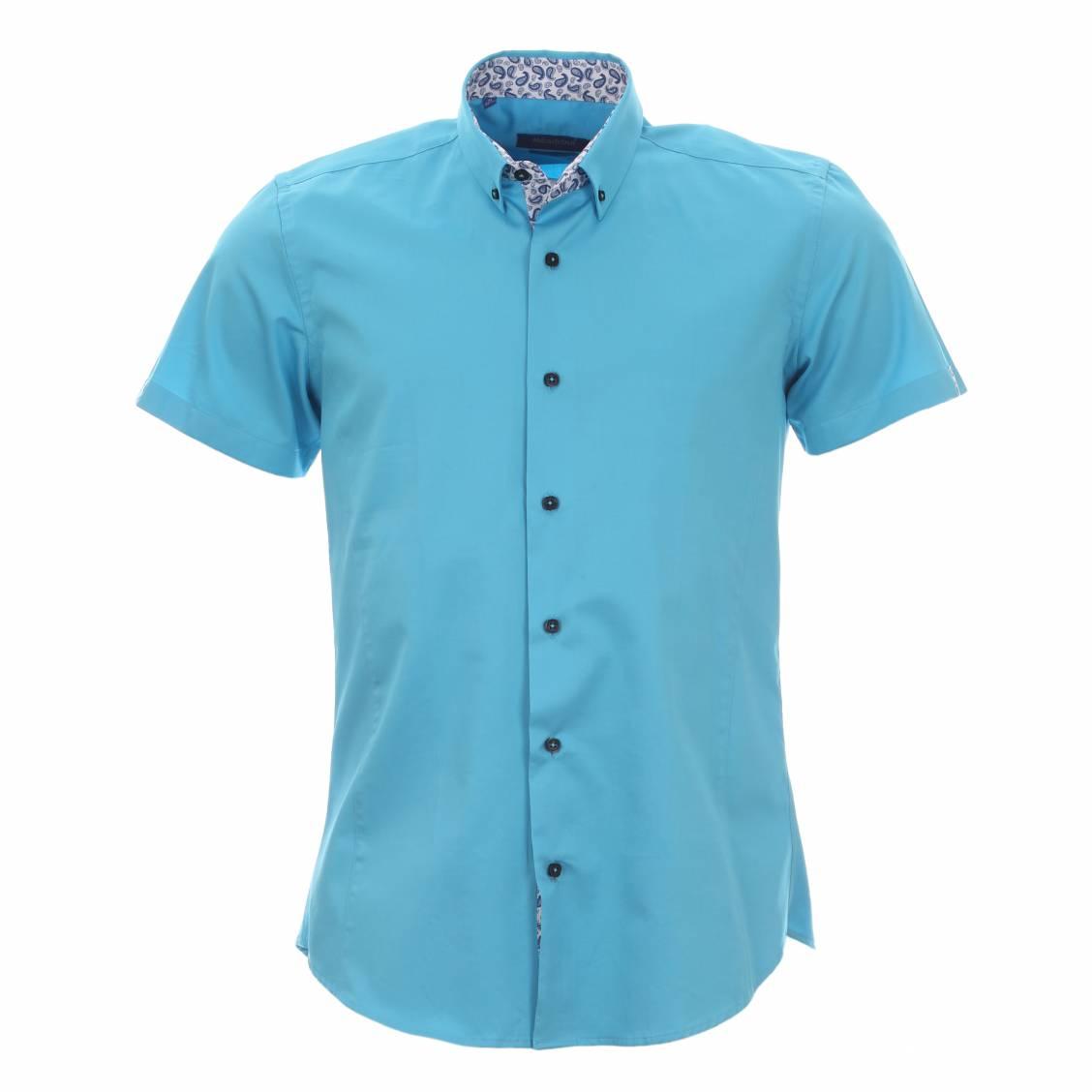Chemise femme manche courte turquoise